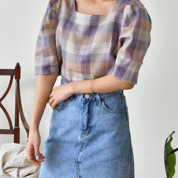 marine puff blouse(violet/beige)