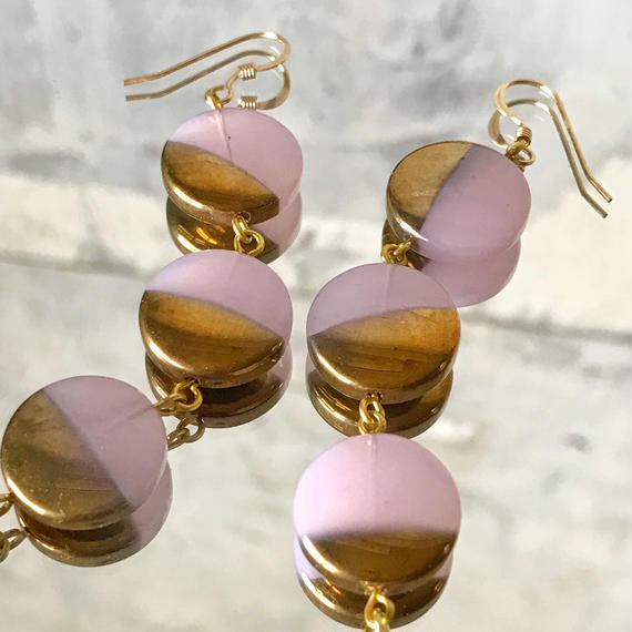 vintage coin beads pierce (pink & gold)