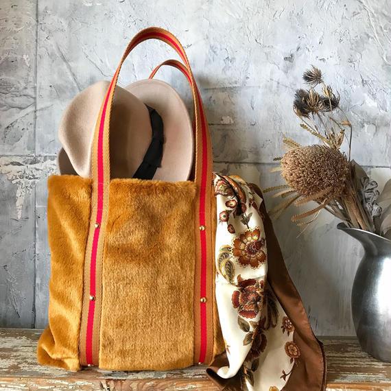 fur tote  bag (golden)