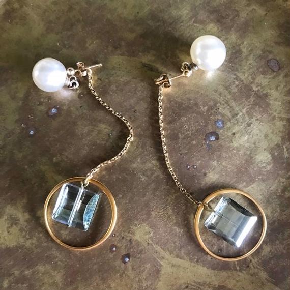 vintage glass pierce (vermeil)