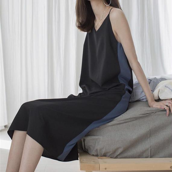 side stripe  strap dress/サイドライン ストラップ ドレス ワンピース