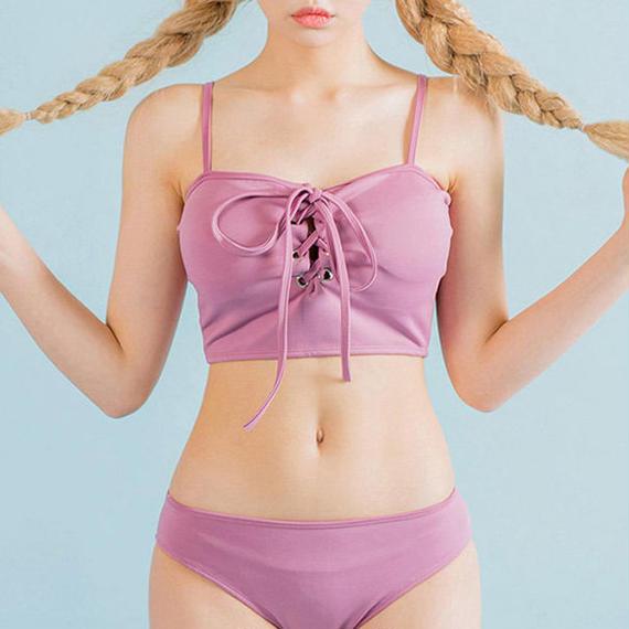 lace up swimwear bikini/レース アップ ビキニ