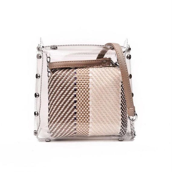 4 color pvc chain shoulder bag/4カラー pvc クリア ショルダー バッグ
