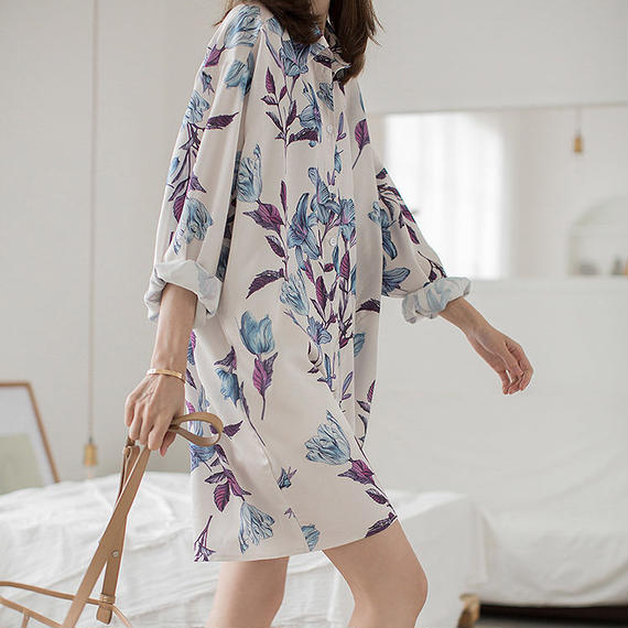 flower print shirt dress/フラワープリント シャツ ワンピース ドレス