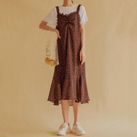 2 color flower print frill dress/2カラー フラワー プリント フリル ワンピース ドレス