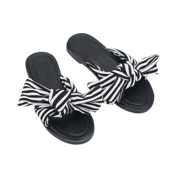 2 color ribbon shoes/2カラー リボン シューズ サンダル