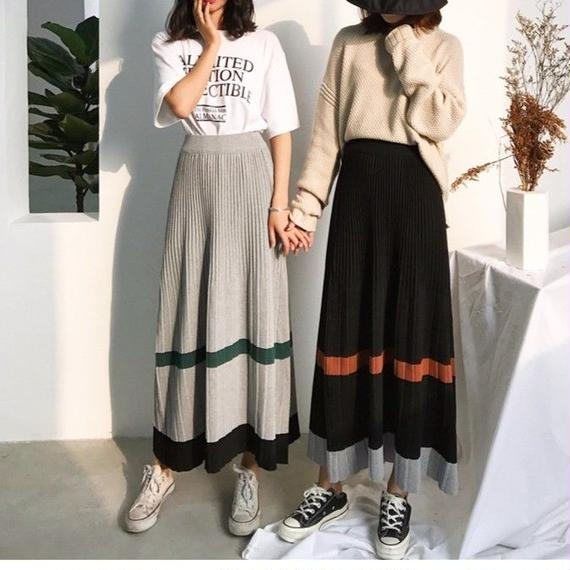 color scheme 2color long skirt/配色 2カラー ロングスカート
