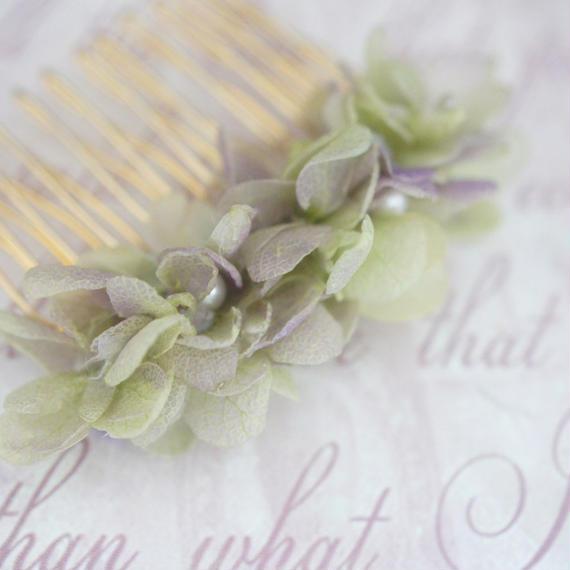 プリザーブドフラワー紫陽花のコーム   アンティークグリーン&パープル