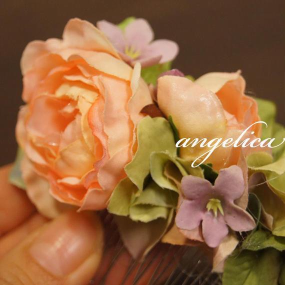 バラのコーム髪飾り サーモンオレンジのオールドローズ ヘアアクセサリー