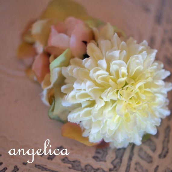 森ガール スモーキーカラー 大き目ピンポンマム オフホワイト ピンク バラ オールドローズ 髪飾り 七五三に 和装に ウェディング にも。