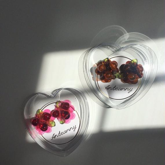 Bouquet earrings (water blue/pink brown/rose tea/bekko)
