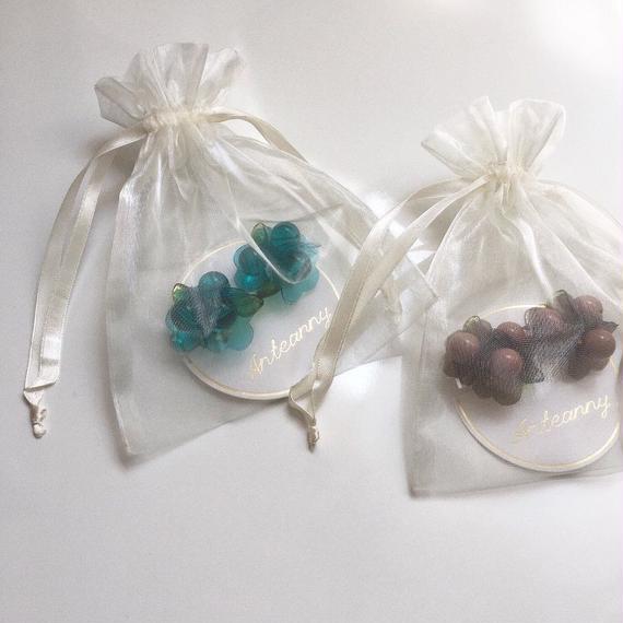 Bouquet earrings (water blue/pink brown)