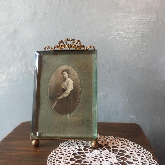 仏アンティーク 写真立て リボンの装飾