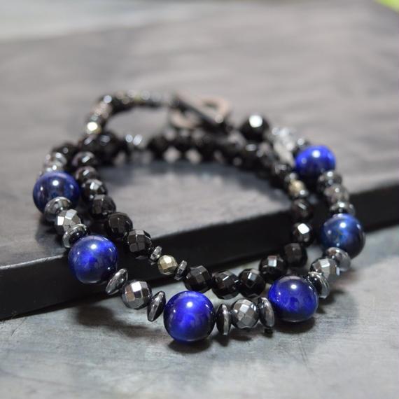 """ブルータイガーアイ&オニキス ハイブリッド ラップブレス""""BLUETIGEREYE&ONYX hybrid wrap bracelet"""""""