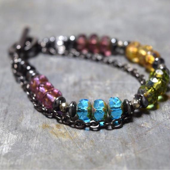 アルクス チェコガラス チェーンブレス〈マルチ〉''ARCUS czechglass chain bracelet(MULTI)''