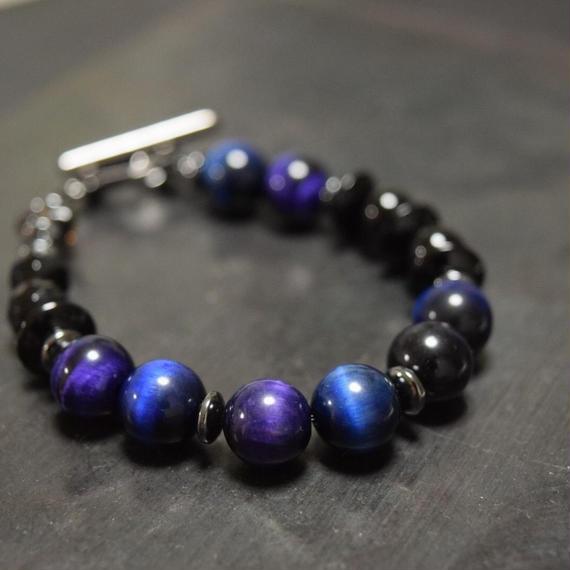 """ブルー&パープル タイガーアイ ブレス""""BLUE&PURPULE TIGEREYE bracelet"""""""