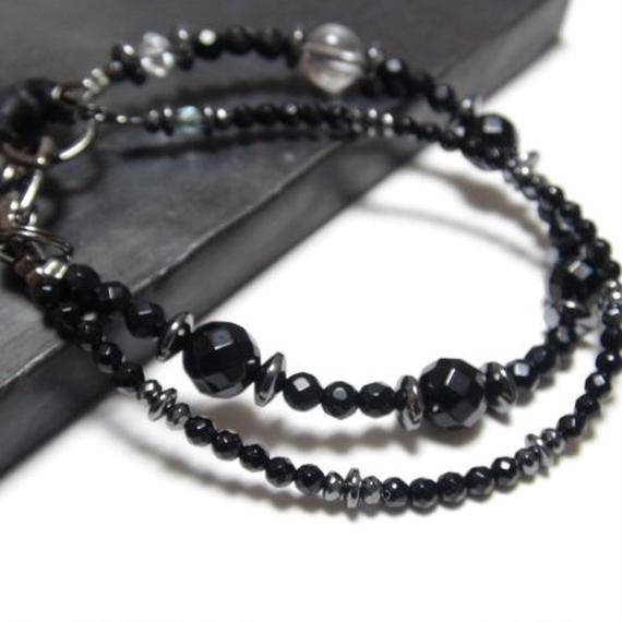"""オニキス ダブルレイヤー ブレス レザーテール""""ONYX double layer bracelet(leather tail)"""""""