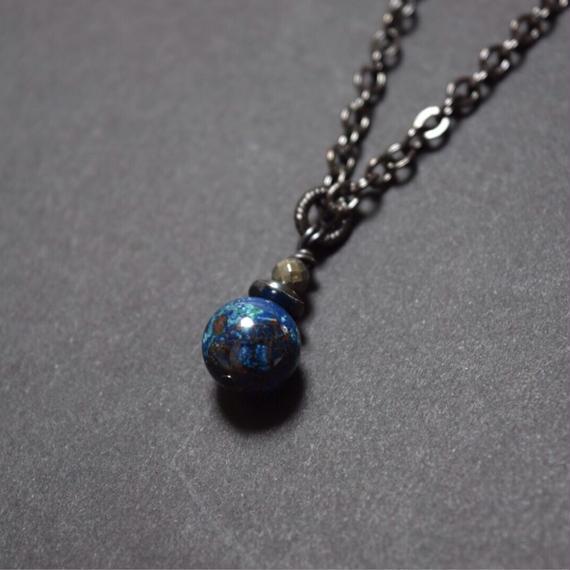 """クリソコラ 10mm AAA  ソリタリー ネックレス""""CHRYSOCOLLA 10mm  AAA solitary necklace"""""""