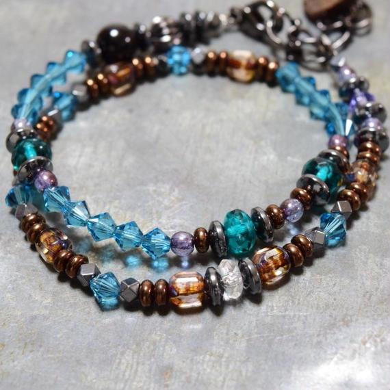 """スワロフスキー ラップブレス[孔雀緑]""""swarovski wrap bracelet (PEACOCK GREEN)"""""""