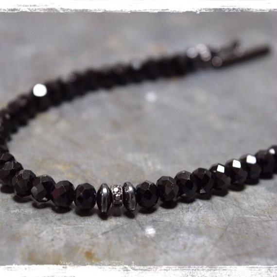 """ブラックスピネル  6mm ブレス【ブラックダイヤモンド】""""BLACKSPINEL 6mm bracelet(BLACK DIAMOND)"""""""