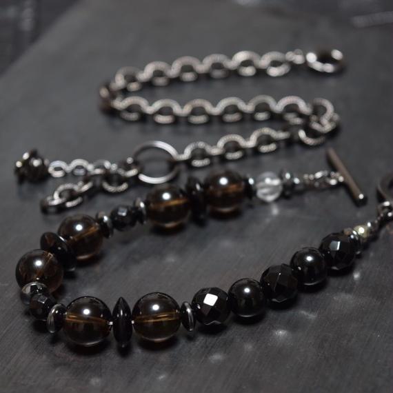 """スモーキークォーツ チェーンブレスセット""""SMOKYQUARTZ chain bracelet set"""""""