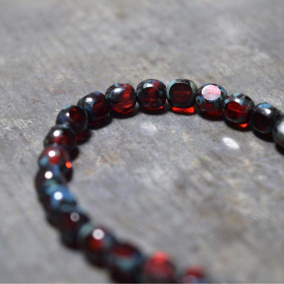 """ダークアルクス  ブレス〈ブラッド〉""""DARK ARCUS czechglass bracelet(blood) """""""