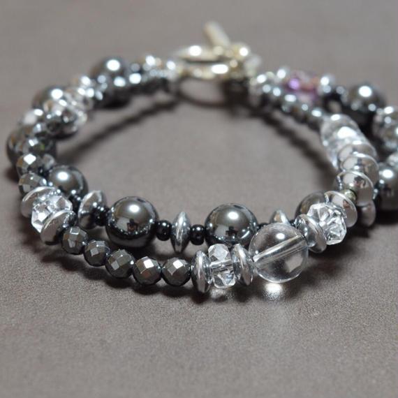 ヘマタイト&クリスタルクォーツ ダブルレイヤーブレス''HEMATITE &CRYSTALQUARTZ double layer bracelet''