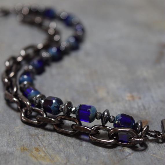 """アルクス チェコガラス チェーンブレス〈ダークブルー〉""""ARCUS czechglass chain bracelet(DARK BLUE)"""""""