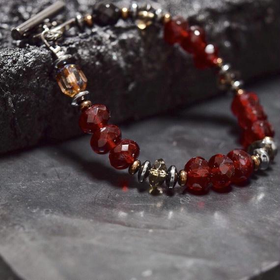 """アルクス チェコガラス シングル ブレス〈ブラッド〉""""ARCUS czechglass single  bracelet(BLOOD)"""""""