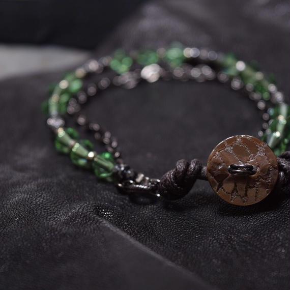 """スワロフスキー レイヤーブレス〈新緑〉""""SWAROVSKI layer bracelet(TENDER GREEN)"""""""