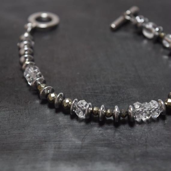 ヘマタイト&クリスタルクォーツ シングルブレス ''HEMATAITE & CRYSTALQUARTZ single bracelet''