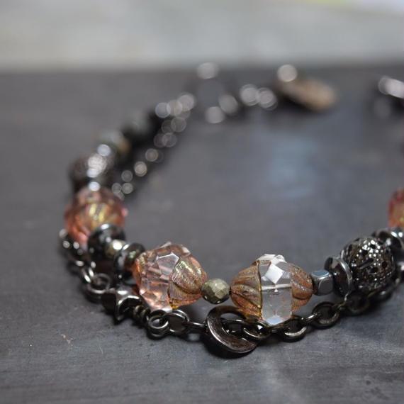 """アルクス チェコガラス チェーンブレス<ピンクブラウン>""""ARCUS czechglass chain bracelet<PINK BROWN>"""""""