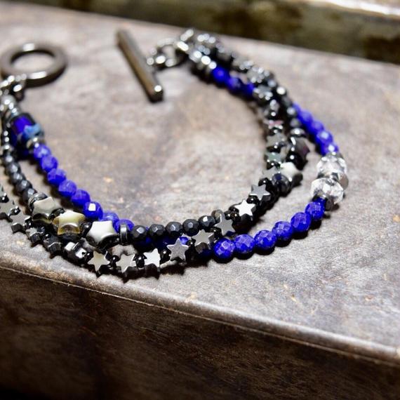 """ラピスラズリ  3レイヤーブレス[ STAR]""""LAPISLAZULI 3layer bracelet(STAR)"""""""