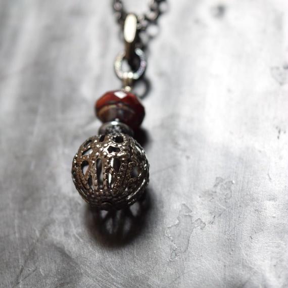 """ブラス スフィア ロングネックレス(ブラッド)""""brass sphere longnecklace(BLOOD)"""""""