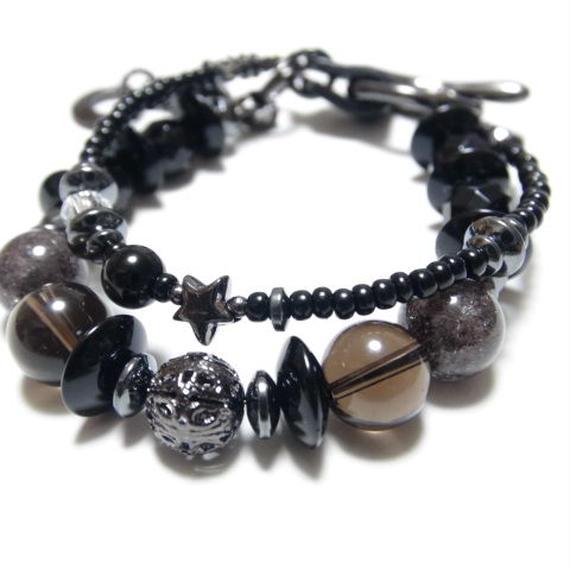 オニキス&スモーキークォーツ 2連ブレス ワンスター ''ONYX & SMOKYQUARTZ double layer bracelet (1STAR)''