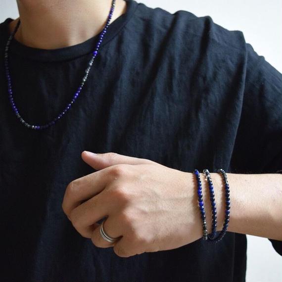 """ブルータイガーアイ 4mm 2WAYネックレス""""BLUE TIGEREYE 4mm 2WAY necklace"""""""