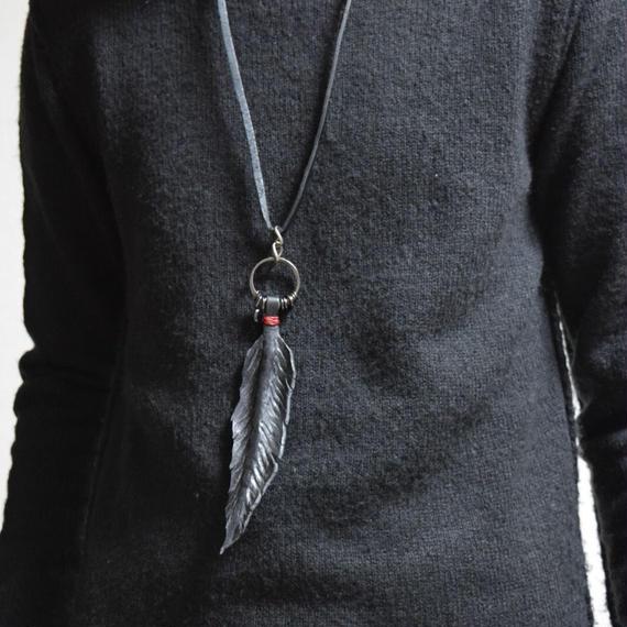 """エングレイヴド  フェザー   ネックレス*B """"engraved feather necklace*B"""""""