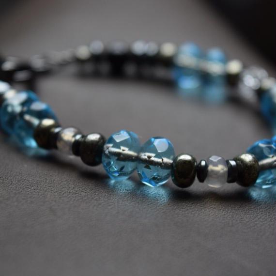 アルクス チェコガラス シングルブレス〈アクア〉''ARCUS czechglass single bracelet(AQUA)''