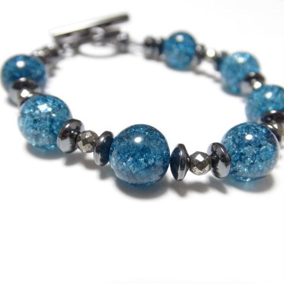 """ブルークラッククリスタル 10mm スピーナブレス""""BLUECLACKCRYSTAL 10mm spina bracelet """""""