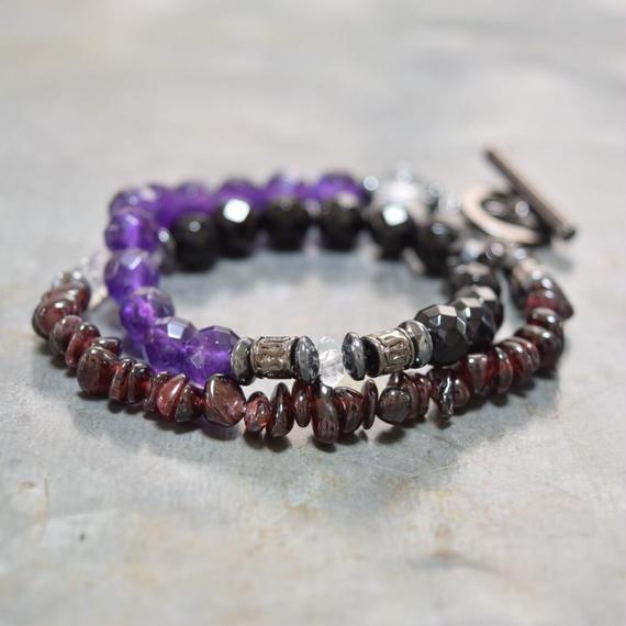 """アメジスト&ガーネット ラップブレス""""AMETHYST&GARNET wrap bracelet"""""""