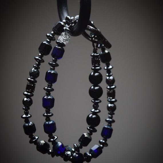 """アルクス ブルー&ブラック ラップ ブレス""""ARCUS blue/black wrap bracelet"""""""
