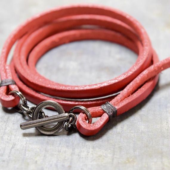 """トゥインクルラップ レザーブレス〔ブラッド〕""""twinkle wrap leather  bracelet(blood)"""""""