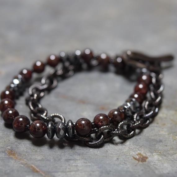 ガーネット ダブルレイヤー チェーンブレス ''GARNET doublelayer chain bracelet''