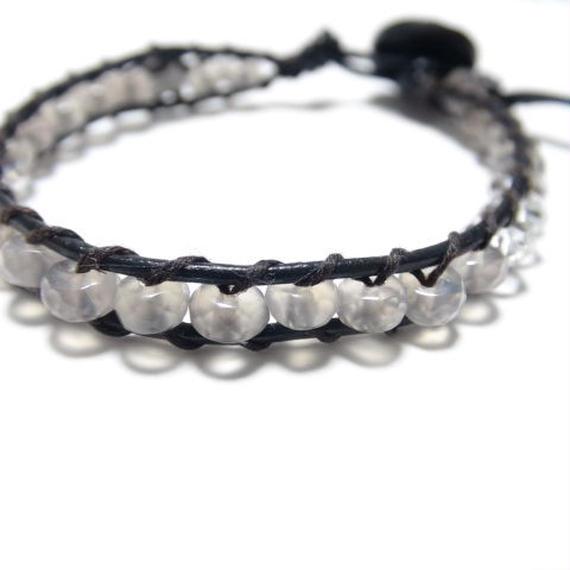 """グレーオニキス レザーラップブレス ワンスター""""GREYONYX leather wrap bracelet(one star)"""""""