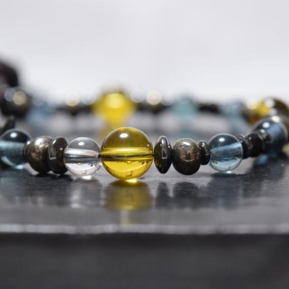 シトリン&フローライト レザー ラップブレス''CITRIN&FLUORITE leather wrap bracelet''