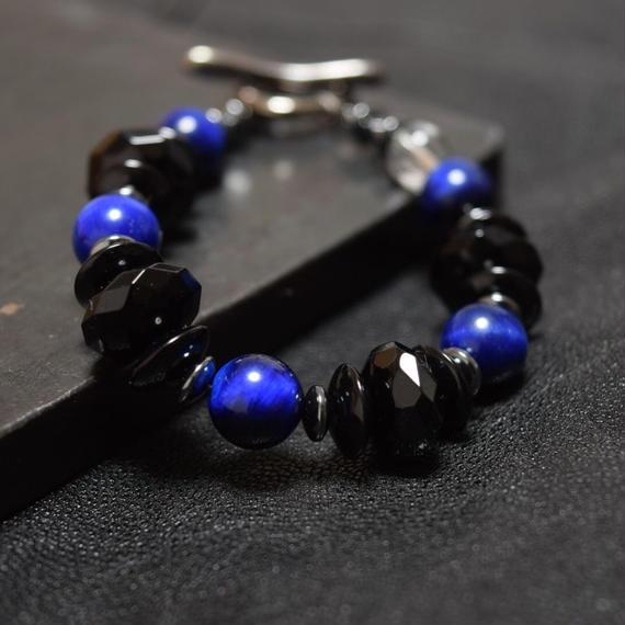 """ブルータイガーアイ&オニキス""""BLUETAIGEREYE & ONYX bracelet"""""""