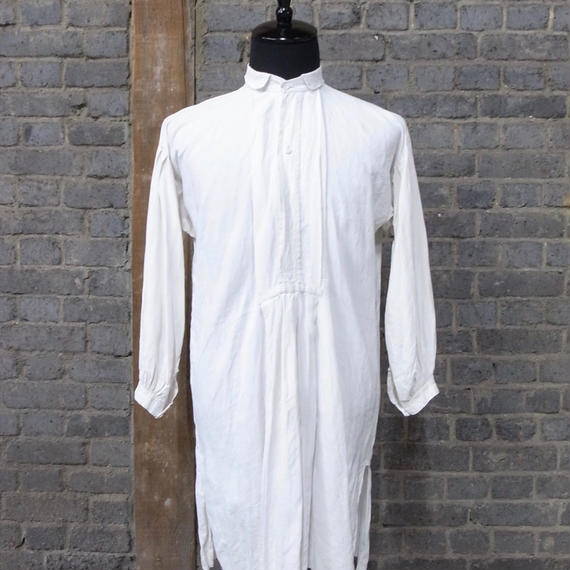 """early 20th c. french linen work shirt """"glass botton"""""""