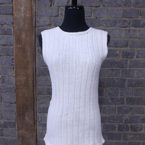 "mid 20th c. french  cotton sleeveless top ""home made knitted"""