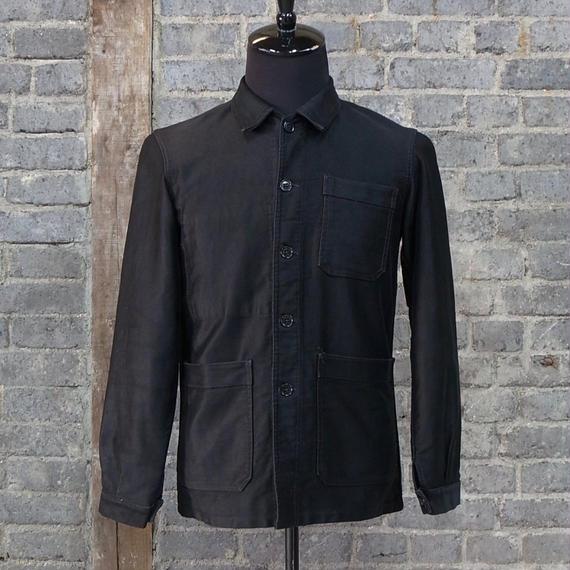 "mid 20th c. ""vulcain"" french vintage black moleskin work jacket"
