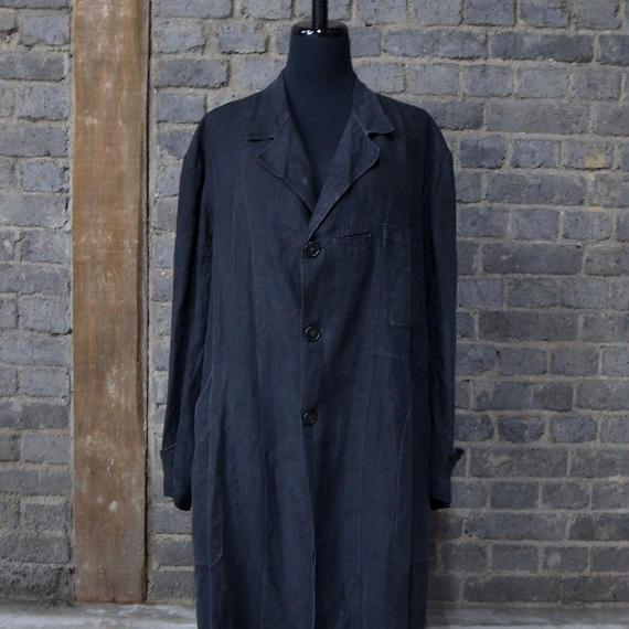 early 20th c. french black indigo linen work coat